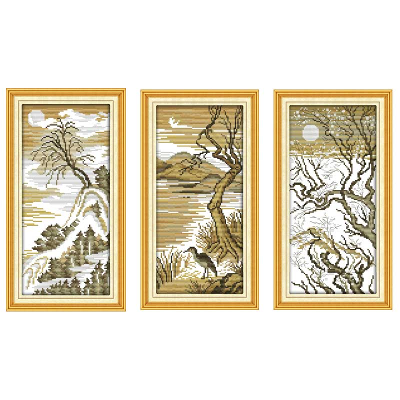 Moonlight Tree Patterns Counted Cross Stitch 11CT 14CT Cross Stitch Set Wholesale scenery Cross-stitch Kit Embroidery Needlework