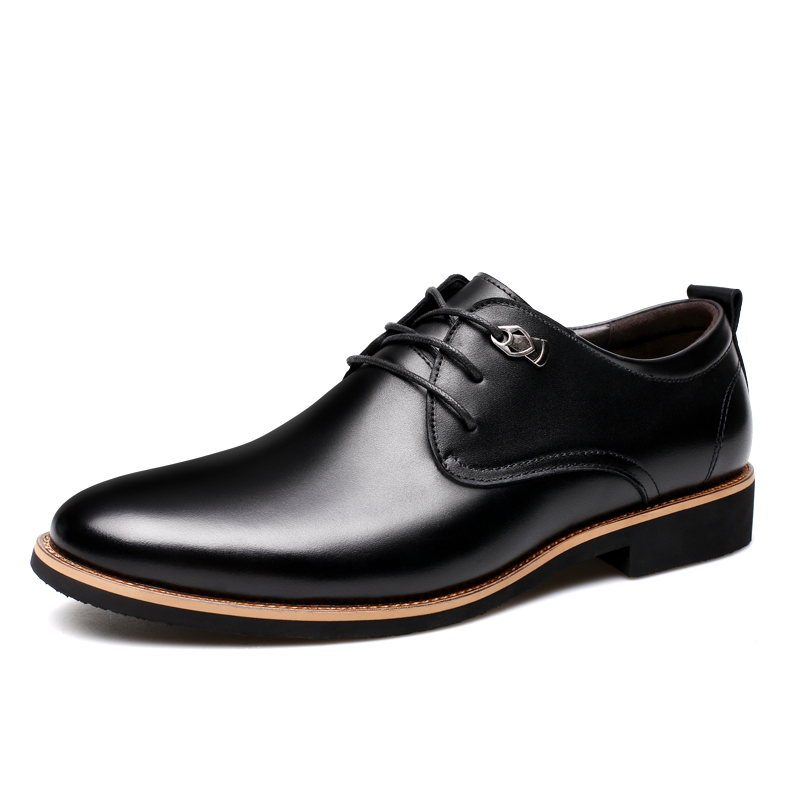 Men's Shoes Bright Genuine Leather Men Shoes Oxfords Pointed Toe Lace Up Mens Dress Shoes High Grade Office Work Shoes Black Brown Wedding Shoes Elegant In Smell Formal Shoes