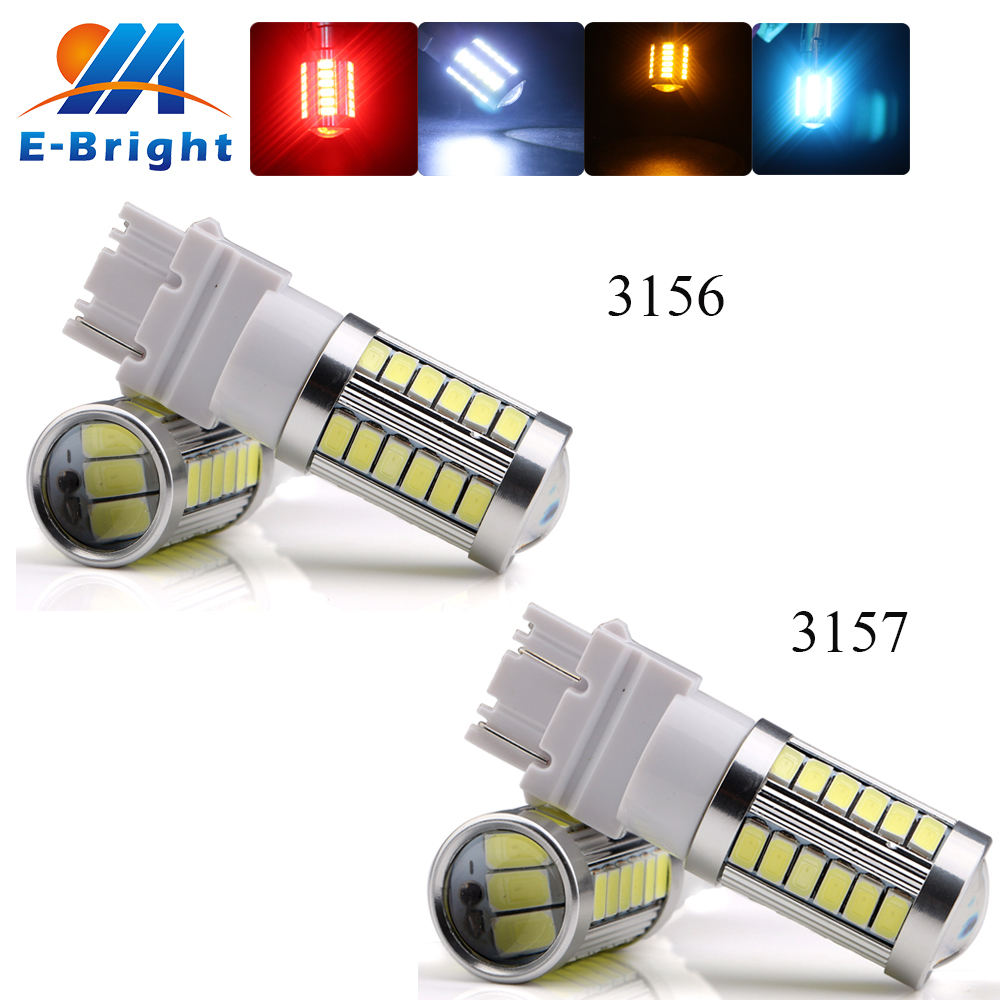 YM E-Bright 6-20-100Pcs/Lot 3156 3157 High Power P27W 5730 33 SMD LED Bulbs for Brake Tail Reverse Backup Lights