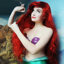 70 Cm Harajuku Anime Cosplay Wig Costume Red Lil Love Little Mermaid Princess Long Curly Wavy Heat Resistant Synthetic Hair H015