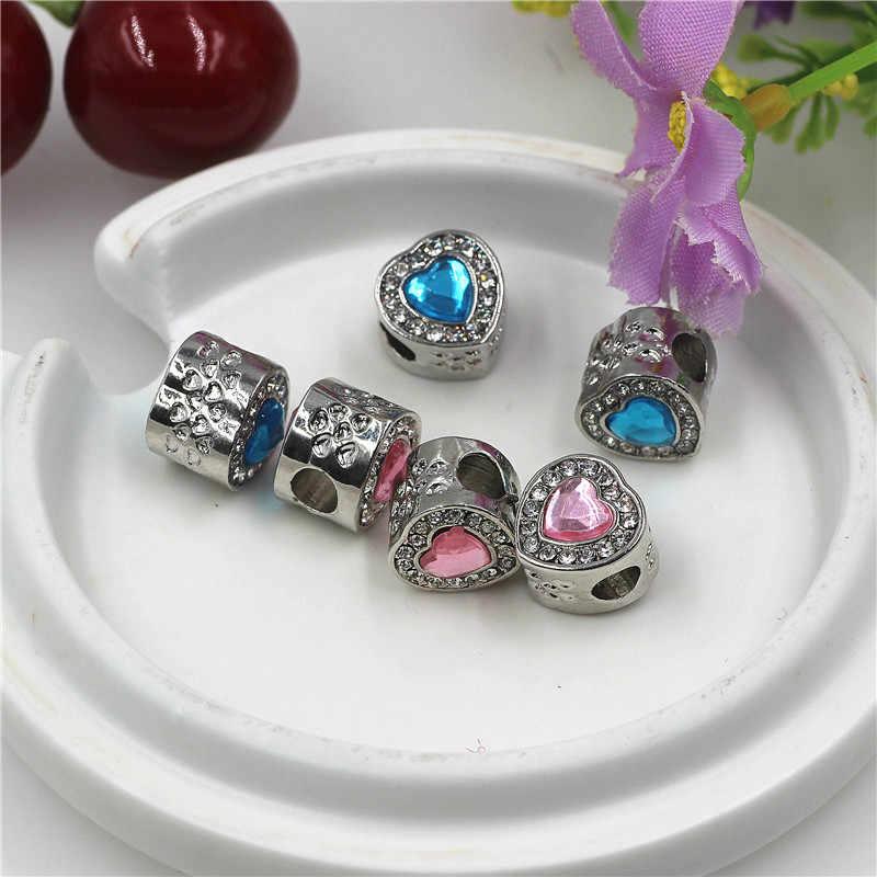 Hot biżuteria Bijoux w kształcie serca w kształcie serca kryształowe koraliki do Pandora Charms bransoletka hurtownie miedź Micro Pave koralik z dużym otworem Diy Berloque