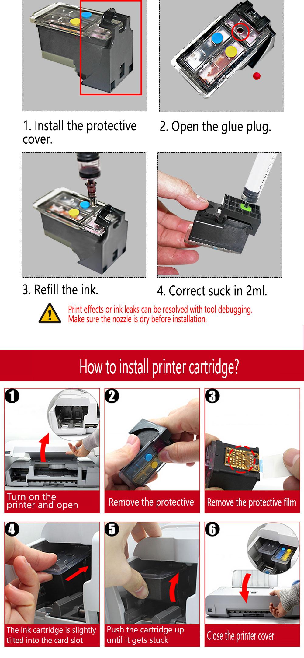 More Than 10,000 Print Pages, Black Refillable Ink Cartridges for HP  Deskjet 2130 1112 3630 3632 3635 Printer