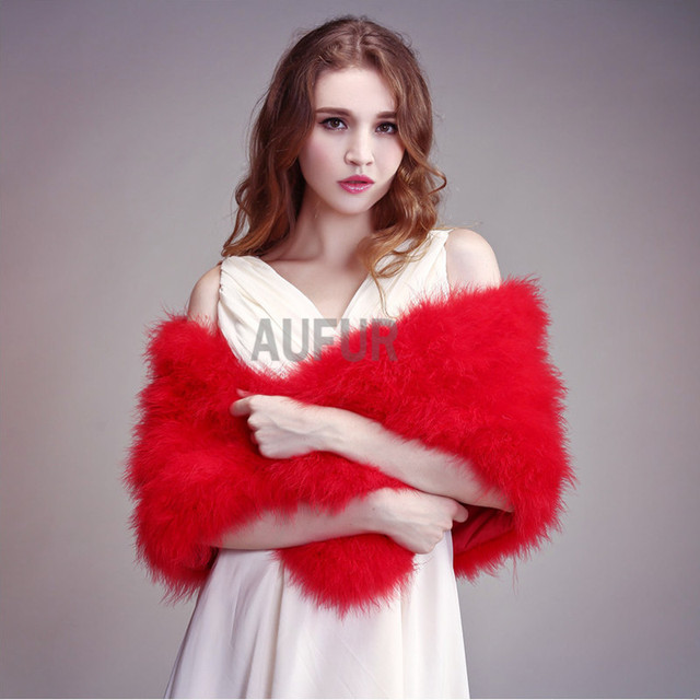 Real Ostrich Fur Shawls Natural Fur Wraps Women Evening Dress Solid Winter Fashion Shawl 100% Turkey Feather Pashmina AU00795