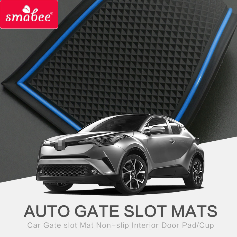 Smabee Für TOYOTA C-HR 2017 Gate Slot Pad Innentür Pad / Cup rutschfeste Matten rot / blau / weiß / Pure SCHWARZ / GELB / CYAN / GRÜN 13st