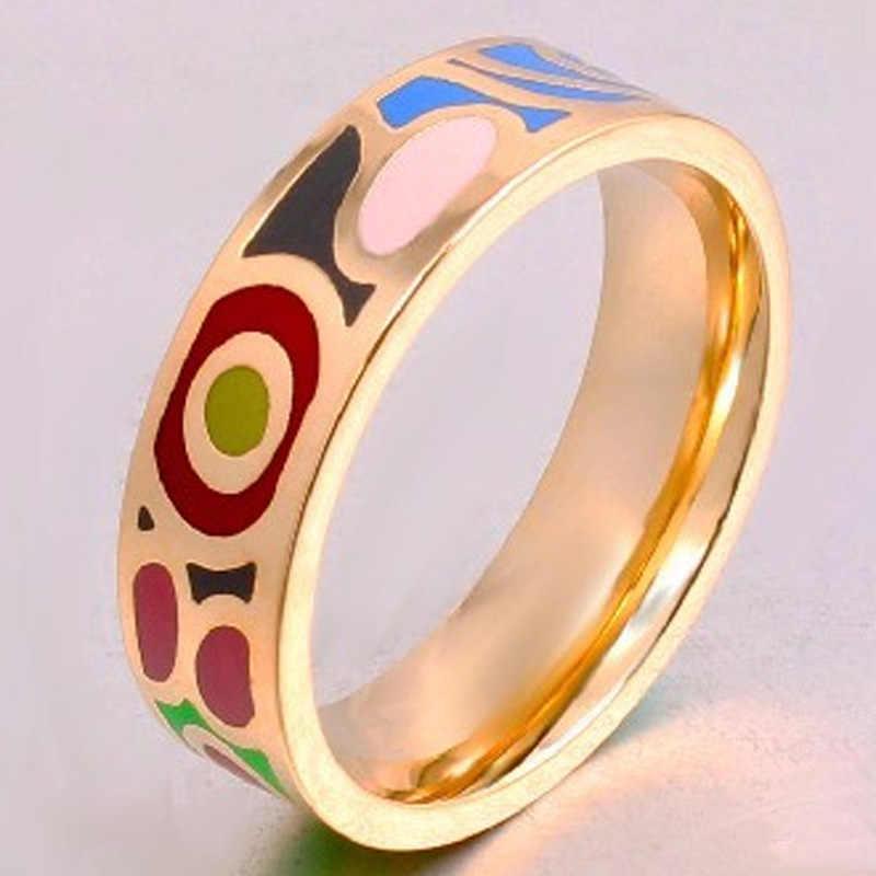 แฟชั่นออกแบบรัสเซียเคลือบสแตนเลสแหวนสำหรับผู้หญิงผู้ชายอุปกรณ์ที่ดีที่สุดทองแหวน-colorผู้หญิงAnel aneis Mujer