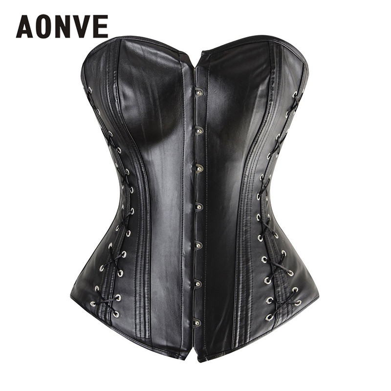 AONVE Faux Leather   Bustier     Corset   Black Overbust vintage   Corset   Top Steel Bone Korsett for Women Sexy PU Gothic Clothes gothique