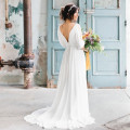 Sexy Backless White Chiffon Wedding Dresses 2016 Boho Country Bride Dress With Sleeves
