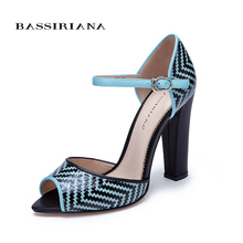 High heels shoes woman 2017 Genuine leather Trendy blue Black women shoes pumps Russian size 36-40 Free shipping BASSIRIANA