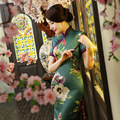 High Slit Dress Improved Fashion Silk Cheongsam Daliy Retro New Fall And Winter Slim Lanky Short Seleeve Silk Maxi Dress 2405