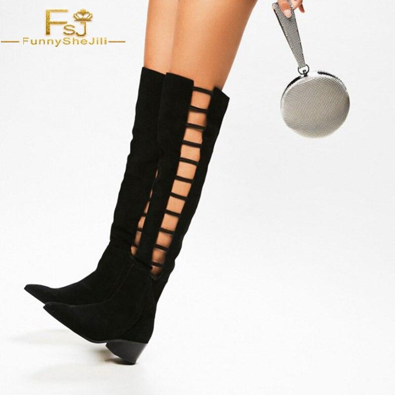 Plus D'été Haute Pointu Chaussons Fsj Bas Talons Femme Parti 4 Chunky De Genou Mode Chaussures Bottes En Daim Noir Longues 16 Bout Robe 8yNn0Ovmw