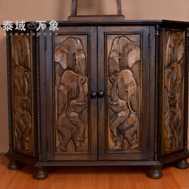 ... Thai Wooden Ornaments Home Furnishings Lockers Southeast Entrance  Cabinet Elephant Relief Neoclassical Furniture ...