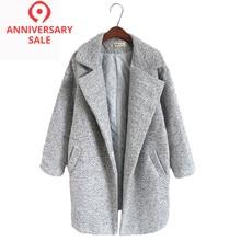 9a558b000 Novas mulheres de lã blends casaco inverno 2017 outono moda elegante solto  longo tweed lã outerwear feminino alta qualidade casa.