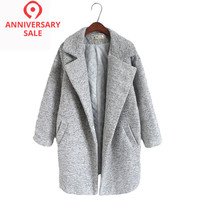 New Women's Wool Blends Coat Winter 2017 Autumn Fashion Elegant Loose Long Tweed Woolen Outerwear Female High Quality Grey Coats