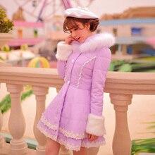 Принцесса сладкий фиолетовый пальто Хлопка Конфеты дождь Кружева Вышивки Бровей украшения однобортный Сладкий Японский дизайн C16CD5964