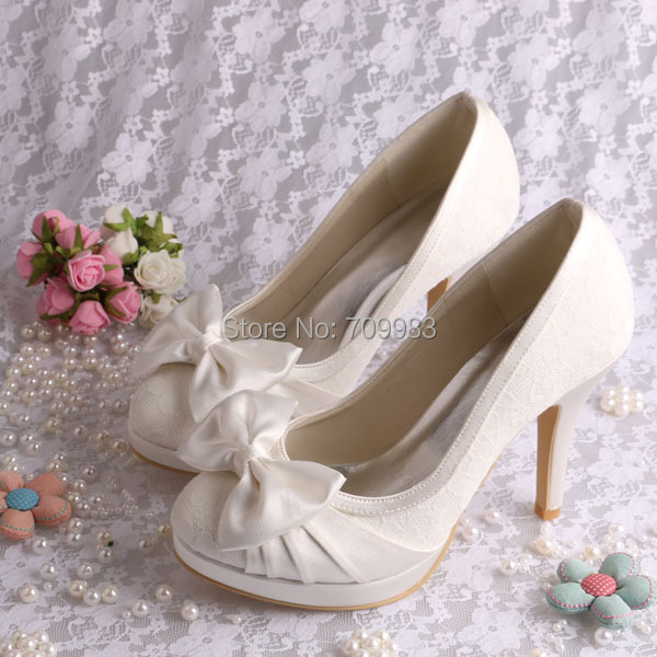 Custom Made Elegant Color Shoes Ivory Wedding Dress With Lace High Heel Size 4