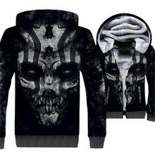 2018 Autumn Winter Thick Hoodies Male Hip Hop Streetwear Mens Sweatshirts 3D Printed Skull Fashion Jackets Sweatshirt For Men
