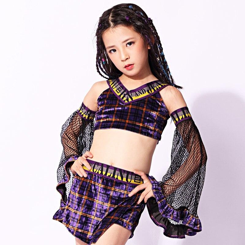 2019 nouvelles filles Plaid trompette manches Costume Jazz danse Costume enfants Hiphop Street Performance Costumes ensemble 120-160 CM DWY1192