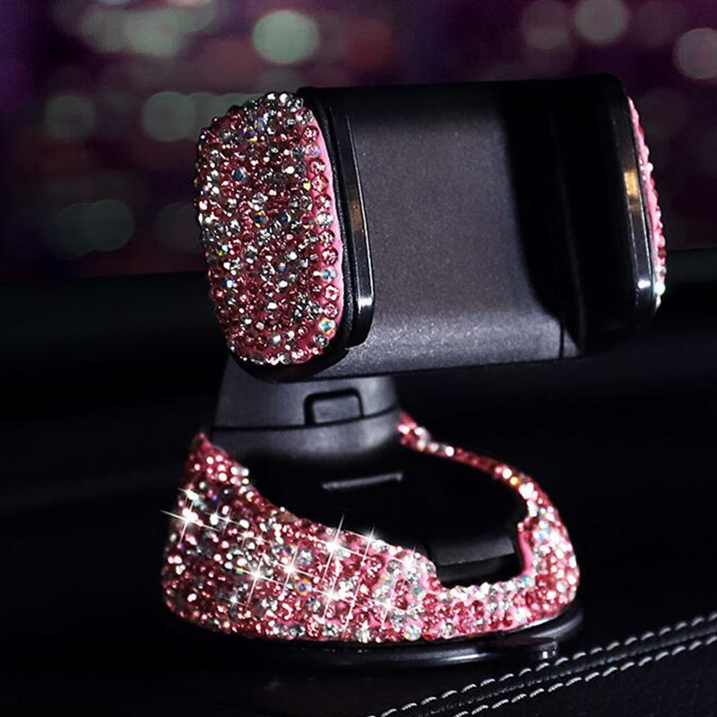 Image 4 - Crystal Rhinestones Universal Car Phone Holder For IPhone Smartphone Mobile Phone Car Holder Stand Air Vent Mount Phone Holder-in Universal Car Bracket from Automobiles & Motorcycles