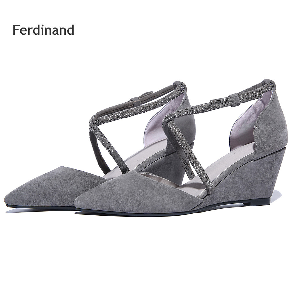 2017 New Crystal Women high heel shoes Women Pumps Solid color Gray Black Ankle Strap Summer Casual women sandals Sheepskin free shipping no 40 3 red color fo shoes and bag set new summer women s shoes low heel shoes crystal high heel shoes