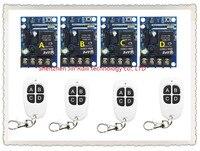 New DC12 48V 12V 24V 36V 48V 1CH 10A RF Wireless Remote Controller Relay Switch System 4 Receiver& 4Transmitter Light ON OFF