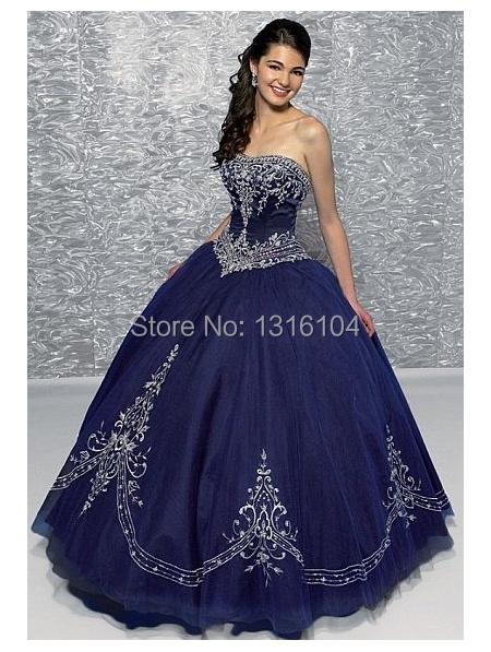 Antique 1950s Navy Blue Colorful Ball Gown Wedding Dresses Gowns Sweetheart Embroidery Gothic Bridal