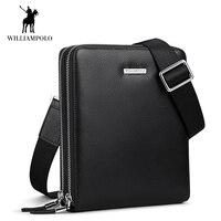 WilliamPOLO Men Shoulder Bag Crossbody Bags Genuine Leather Briefcase Sling Bags Adjustable Shoulder Strap Casual Black Large