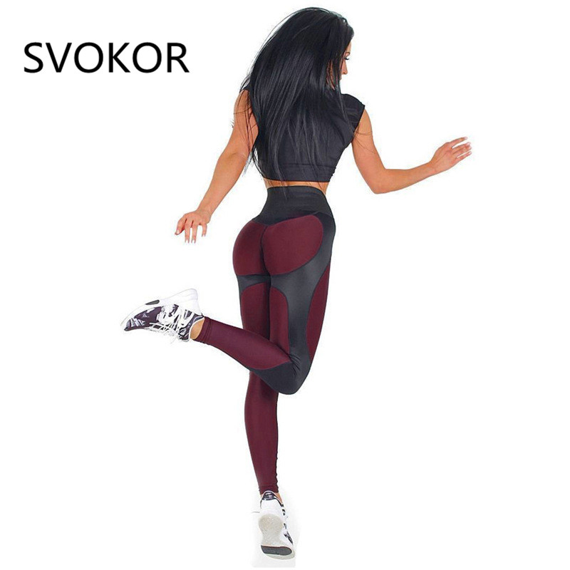 SVOKOR Fitness Leggings Women Polyester High Waist Ankle-Length Pants Patchwork Push Up Fashion Female Legging