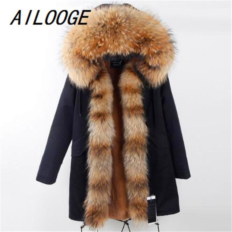 AILOOGE Arrival Fur Parka 2017 Brand Long Women Winter Coat Real Raccoon Fur Jacket Luxury Large Detachable Collar Parka Femme