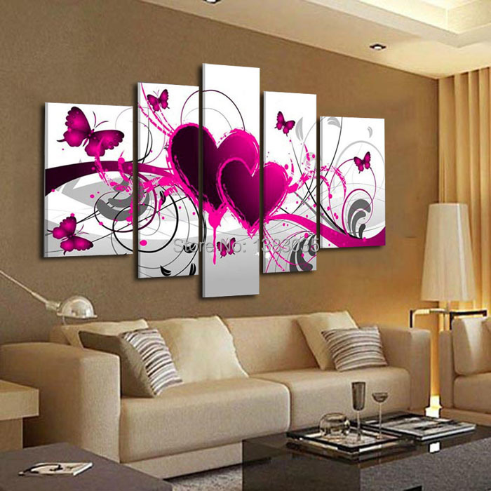 Hand painted abstract pink canvas painting butterfly heart for Cuadros para living grandes
