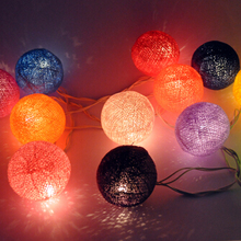 New 20 LED Fabric Cotton Ball String Fairy Lights Holiday Wedding Party Home Great Decoration Lamp Bulb Free Shipping