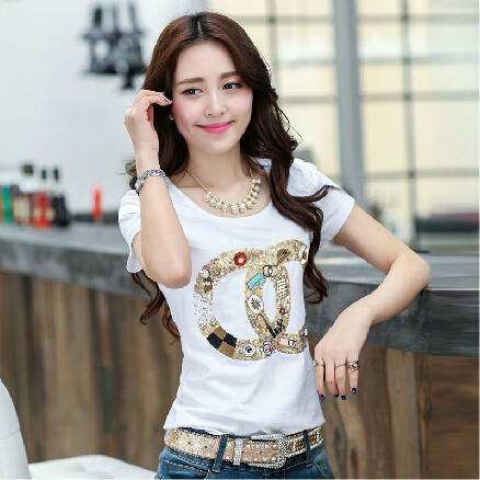 New Arrival !!! 2016 Fashion Top Sale Summer T-shirt Women Brand Tees Tops Short Sleeve T Shirts Plus Size T-Shirt S-XXXL BD036