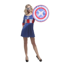 Adult Super Hero Captain America Cosplay Costume for Women Maiden Teen Girls Fantasia Halloween Carnival Mardi Gras Party Dress