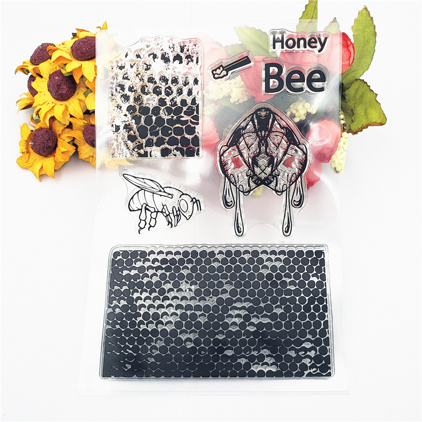 JC Clear Stamps for Scrapbooking Bee Honeycomb Transparent Rubber Silicone Seals Craft Stencil Diy Album Card Make Sheet