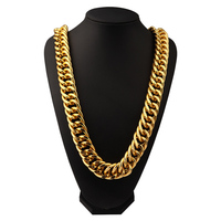 JFY Cuban Link Chain Tide Brand Street Dance Singer Gold Silver Curb Thick Aluminum Chain 35