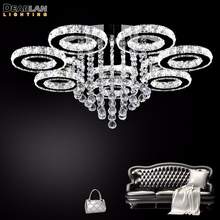 Hot Sale LED Crystal Ceiling Light Fixture Ring K9 Flush Mounted Lighting Clear Lamp for Living room Hotel