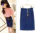 Children's Wear Summer Girls Bust Skirt Korean Brass Buckle Jeans Tall Waist Hip Skirt Kids Clothing Blue Button