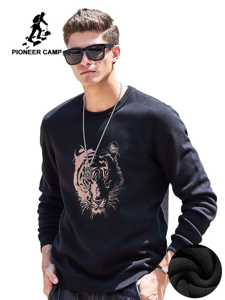 Пионерский лагерь толстой флис мужская толстовка осень зима брендовая одежда теплый свитшот с тигр принтом повседневная толстовка для муж...