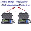 2 pcs 2300 lumen XML T6 diving waterproof underwate 50meter Led flashlight torch + 2 pcs EU/US charger + 2 pcs 18650 battery