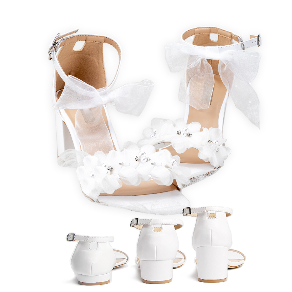 Sandales de mariage blanc dentelle fleurs perle strass noeud ruban Sweety princesse Style bas carré talons court gros talons grande taille