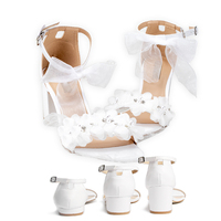 Wedding Sandals White Lace Flowers Pearl Rhinestone Bow Ribbon Sweety Princess Style Lower Square Heels Short Fat Heels Big Size