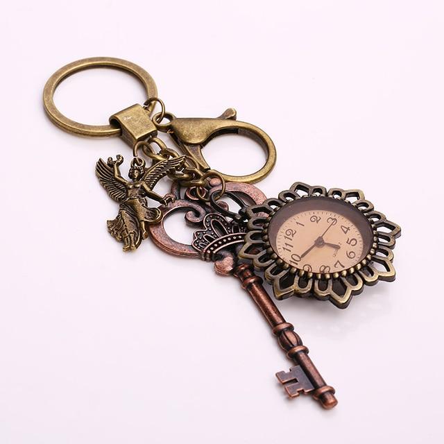 Kupla Fashion Angel Pocket Watch Keychains for Women Vintage Key Charms Keychains  Holder Car Ring Key 718497d9db