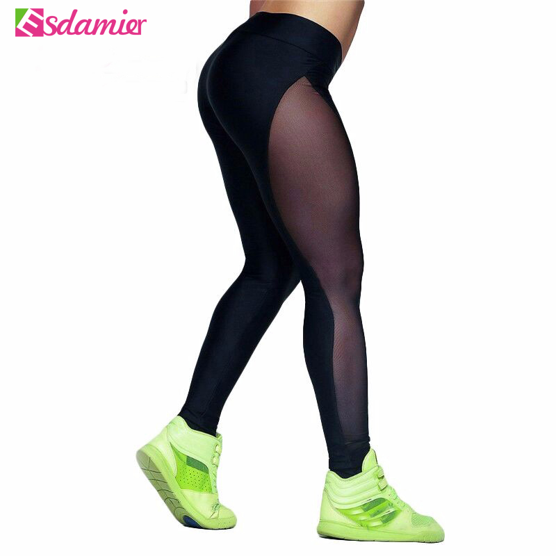 Hot Selling Sexy Mesh Patchwork Skinny   Leggings   High Elastic Fitness   Leggings   Women Workout Legins Pants High Waisted Plus Size