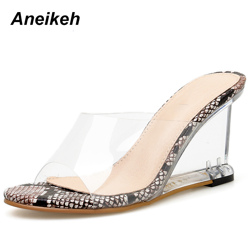 Womens Wedge High Heels Sandals Slipper Open Toes Clear Slip On Pumps 5 Colors T