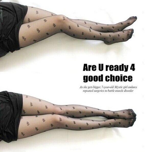 Fashion Sexy Women Lace Core Wire Jacquard Thin Slim Tights Black Silk Stockings