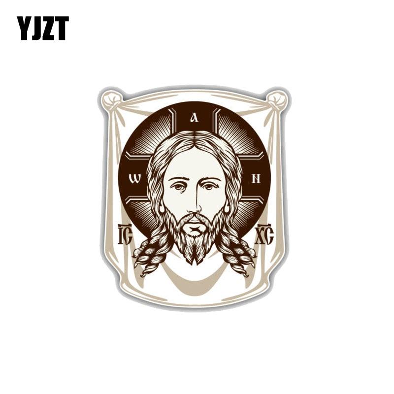 YJZT 11,2 см * 13 см лицо Иисуса, ортодоксальная церковь, икона, религия, пвх декоративный автомобильный стикер 11-00251