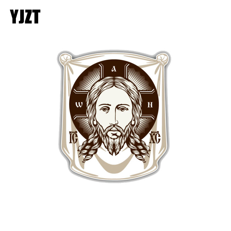 YJZT 11.2CM*13CM  Face Of Jesus Orthodox Church Icon Religion PVC Decoration Car Sticker 11-00251