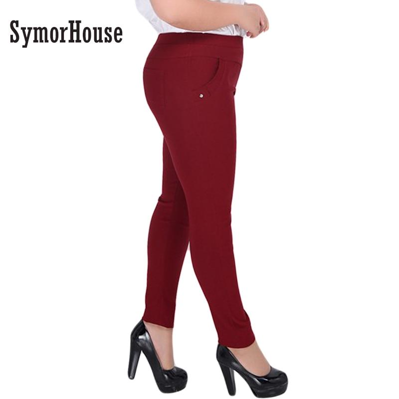 2017 Fashion Big yards 2XL-6XL Women Pants Full-length High waist elastic long Pants Fat MM Pencil Pants Clothes For Female