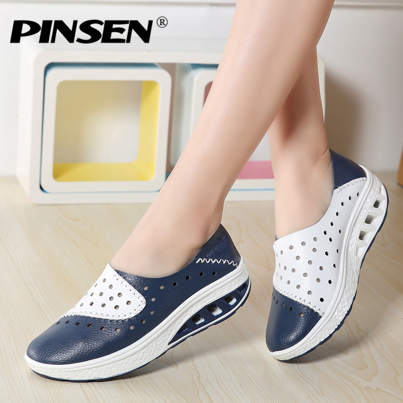PINSEN 2018 Spring Women Genuine Leather Flats Women Platform Sneakers Creepers Cutouts Slip On Flats Moccasins Shoes Woman pinsen women flat platform shoes woman moccasin zapatos mujer platform sandals slip on for ladies shoes casual flats moccasins