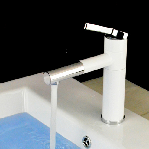 Azos Bathroom Basin Tap Brass White Color Single Hole Deck Mount Hot