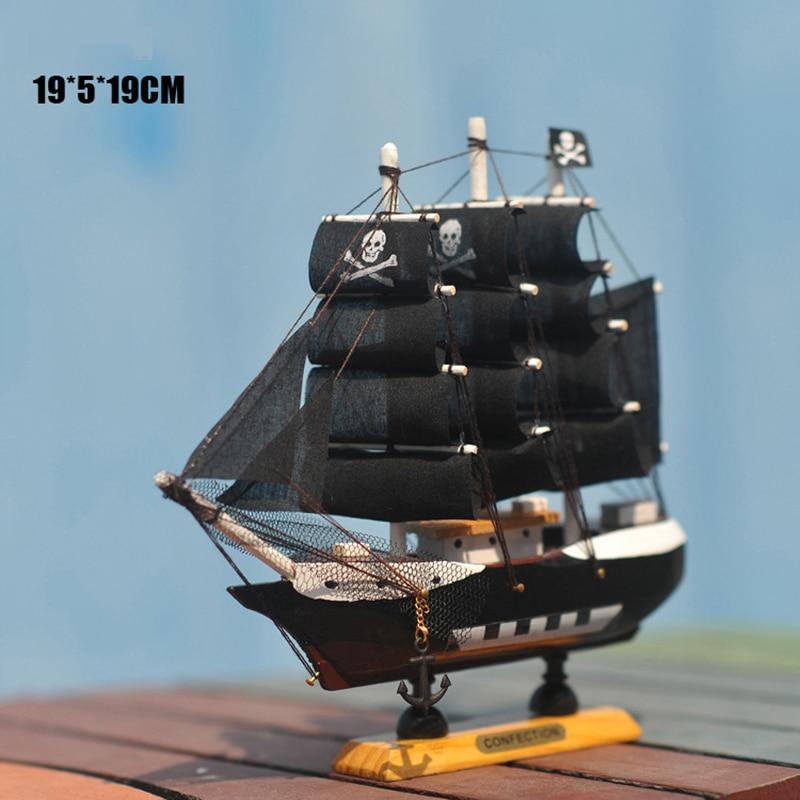 Domácí dekorace Středomořský styl Karibik Pirát černý Pearl Ship Model Narozeninový dárek Středomoří styl Desk Ornament A01